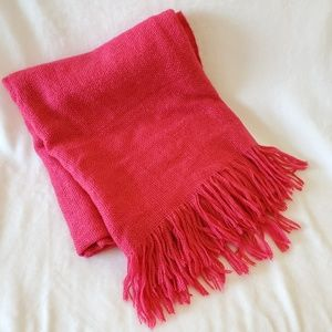 West Elm Fringe Blanket Throw Bright Pink Acrylic